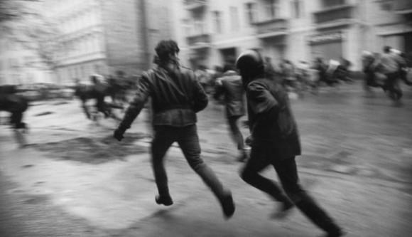 Räumung besetzter Häuser in der Mainzer Straße, Berlin-Friedrichshain, Deutschland 13./14.11.1990